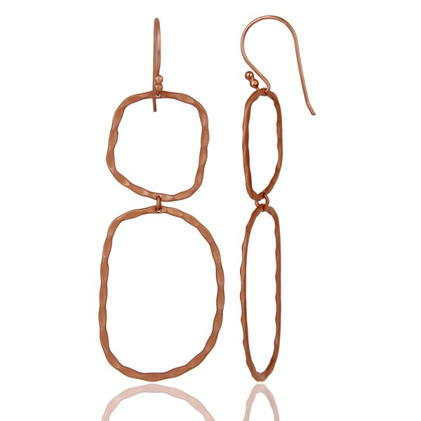 Suppliers 22k Rose Gold Plated Sterling Silver Hammered Open Double Circle Dangle Earrings