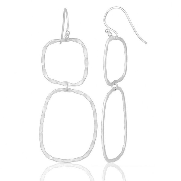 Suppliers Solid Sterling Silver Hammered Open Double Circle Dangle Earrings