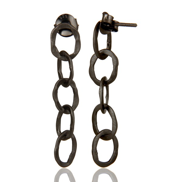 Suppliers Oxidized Solid Sterling Silver Hammered Link Chain Dangle Earrings