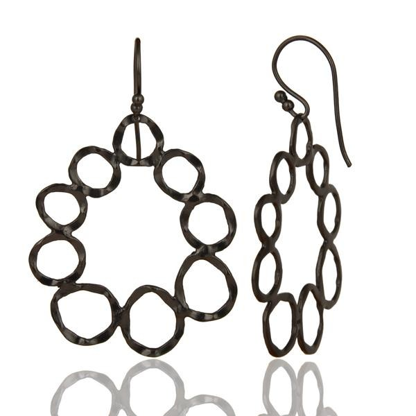 Suppliers Handmade Solid Sterling Silver With Oxidized Hammered Circle Dangle Earrings