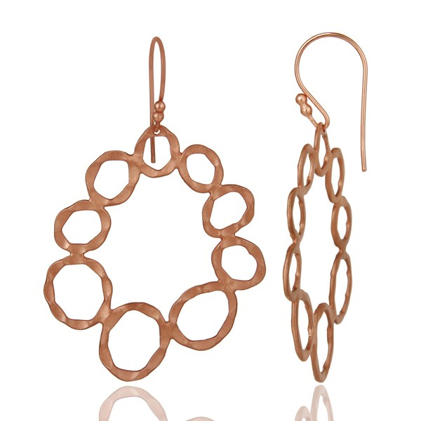 Suppliers Handmade Solid Sterling Silver Rose Gold Plated Hammered Circle Dangle Earrings