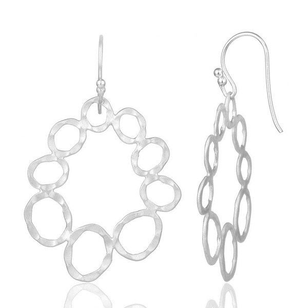 Suppliers Handmade Solid Sterling Silver Hammered Circle Dangle Earrings
