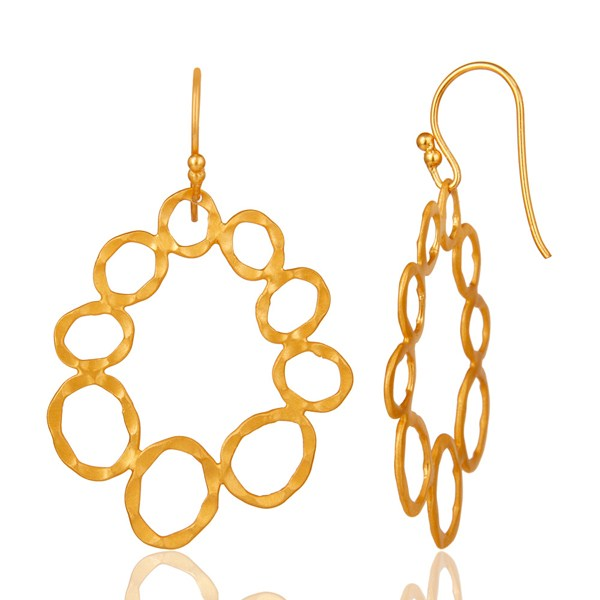Suppliers 24K Yellow Gold Plated Sterling Silver Hammered Multi Circle Dangle Earrings