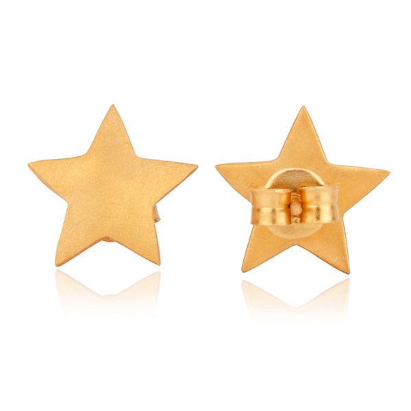 Suppliers Solid Sterling Silver Yellow Gold Plated Flat Star Womens Stud Earrings