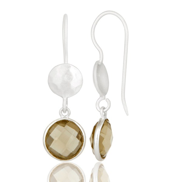 Suppliers 18K Gold Plated Sterling Silver Lemon Topaz Gemstone Bezel Set Dangle Earrings