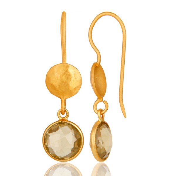 Suppliers 22K Yellow Gold Plated Sterling Silver Lemon Topaz Gemstone Dangle Earrings