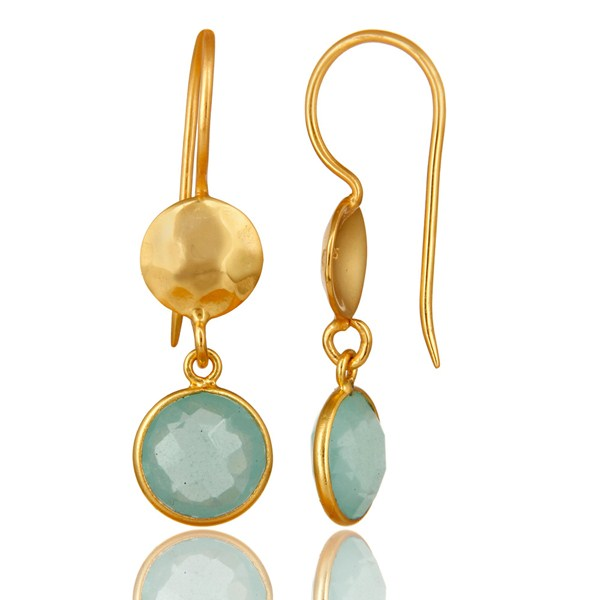 Suppliers 22K Gold Plated Silver Aqua Glass Chalcedony Hammered Disc Dangle Earrings