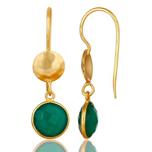 Suppliers 22K Yellow Gold Plated Silver Green Onyx Hammered Disc Dangle Earrings