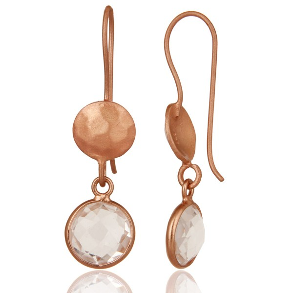 Suppliers 18K Rose Gold Plated Sterling Silver Crystal Quartz Circle Dangle Earrings