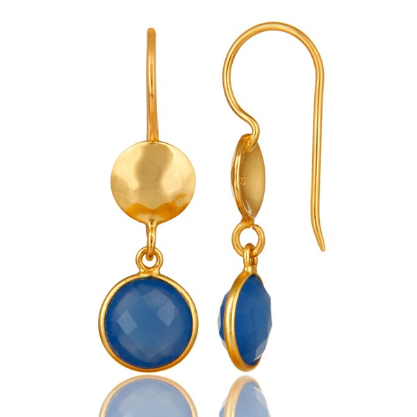 Suppliers 18K Yellow Gold Plated Sterling Silver Blue Chalcedony Disc Dangle Earrings