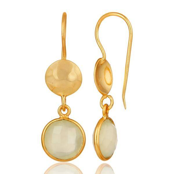 Suppliers 18K Yellow Gold Plated Sterling Silver Prehnite Chalcedony Disc Dangle Earrings