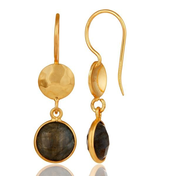 Suppliers 18K Yellow Gold Plated Sterling Silver Labradorite Disc Dangle Earrings
