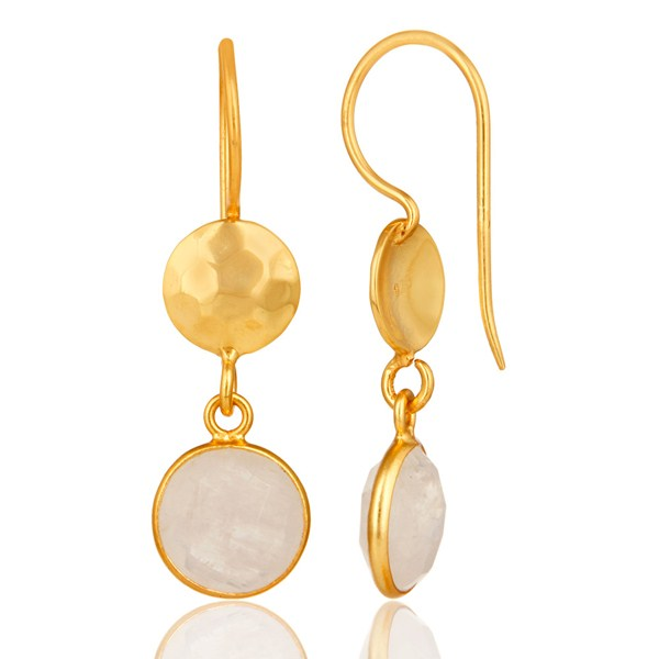 Suppliers Natural Rainbow Moonstone Dangle Earrings Made In 18K Gold Over Solid Silver