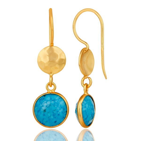 Suppliers Turquoise Bezel Set Gemstone Dangle Earrings In 18K Gold Plated Sterling Silver