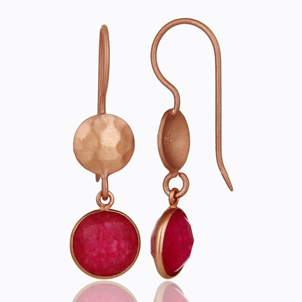 Suppliers 18K Rose Gold Plated Sterling Silver Red Aventurine Gemstone Dangle Earrings