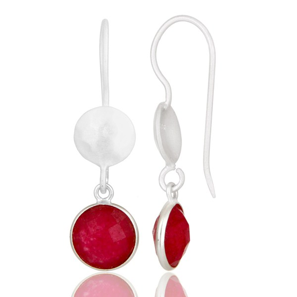 Suppliers Handmade Sterling Silver Red Aventurine Gemstone Dangle Earrings