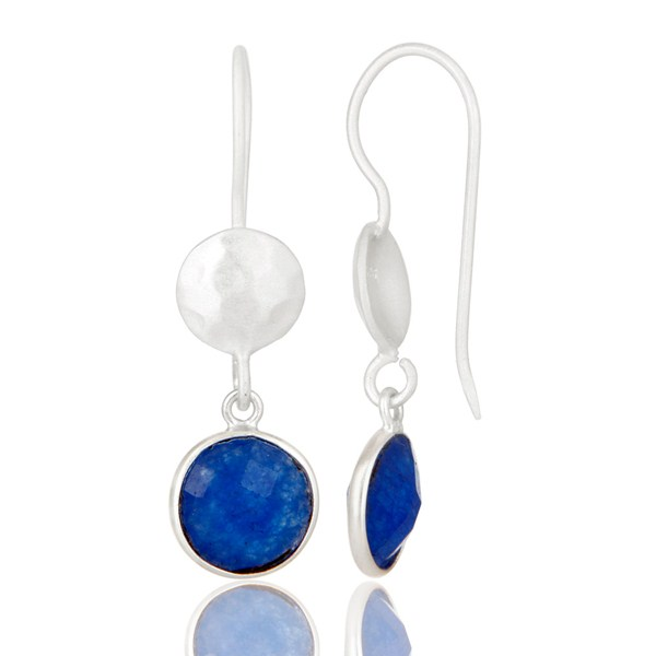 Suppliers Handmade Sterling Silver Blue Aventurine Gemstone Bezel Dangle Earrings
