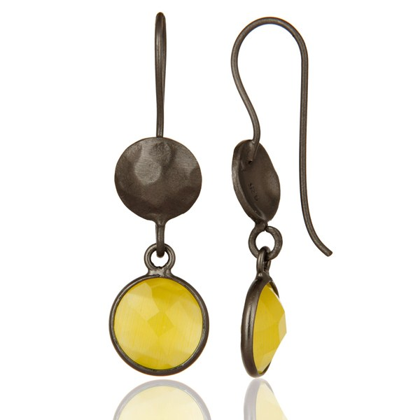 Suppliers Oxidized Solid Sterling Silver Yellow Moonstone Bezel Set Dangle Earrings