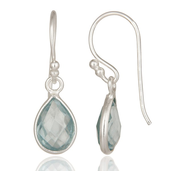 Suppliers 925 Sterling Silver Natural Blue Topaz Gemstone Bezel Set Drop Earrings