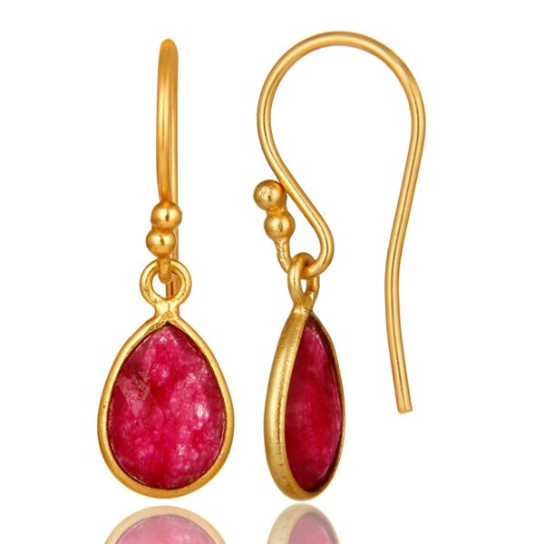 Suppliers 18K Yellow Gold Plated Sterling Silver Red Aventurine Bezel Set Dangle Earrings