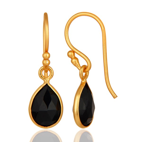 18K Yellow Gold Plated Sterling Silver Black Onyx Bezel Drop Earrings From Jaipur India