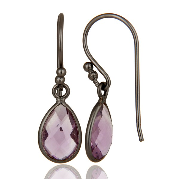 Suppliers Handmade Sterling Silver With Oxidized Amethyst Gemstone Bezel Dangle Earrings