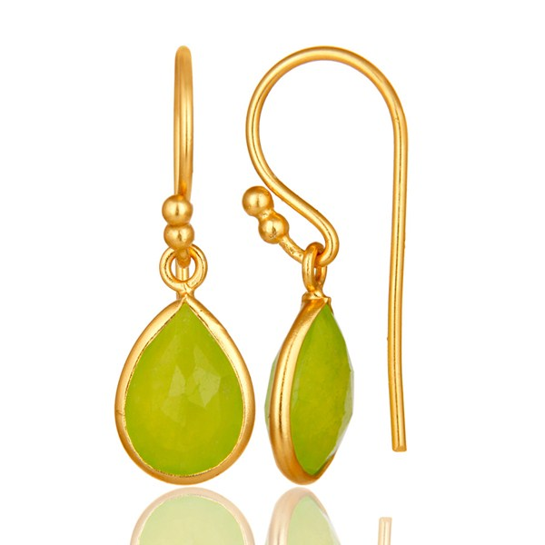 Suppliers 18K Yellow Gold Plated Sterling Silver Green Chalcedony Bezel Set Dangle Earring