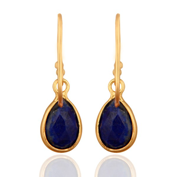 Suppliers Natural Lapis Lazuli Gemstone 925 Sterling Silver Earrings With 24k Gold Plated
