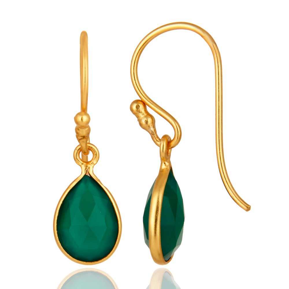18K Yellow Gold Plated Sterling Silver Green Onyx Gemstone Earrings From Jaipur India