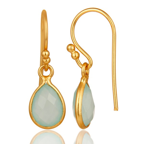 Suppliers Aqua Chalcedony Gemstone Drop Earrings in 14K Yellow Gold Over Sterling Silver