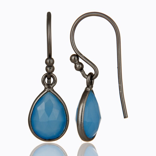 Suppliers Oxidized Sterling Silver Faceted Blue Chalcedony Bezel Set Teardrop Earrings