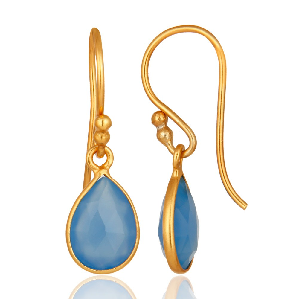 Suppliers Faceted Dyed Chalcedony Gemstone Sterling Silver Drop Earrings - Gold Plated