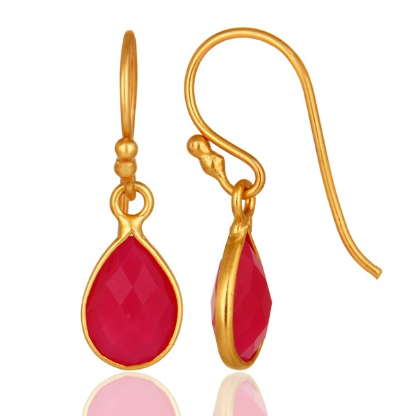 Suppliers 18K Yellow Gold Plated Sterling Silver Pink Chalcedony Bezel Set Drop Earrings