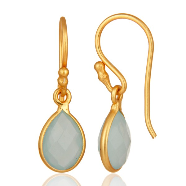 Suppliers 18K Yellow Gold Plated Dyed Aqua Chalcedony Gemstone Bezel Set Drop Earrings