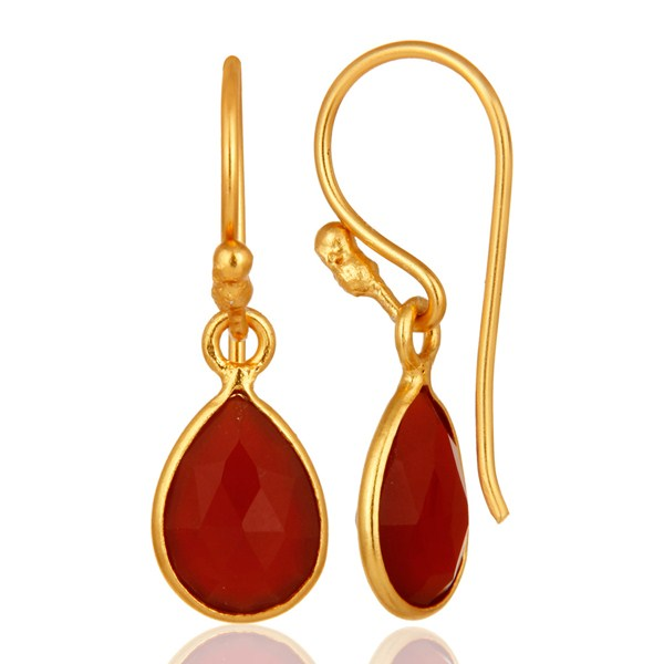 Suppliers 18K Yellow Gold Plated Sterling Silver Red Onyx Gemstone Dangle Earrings