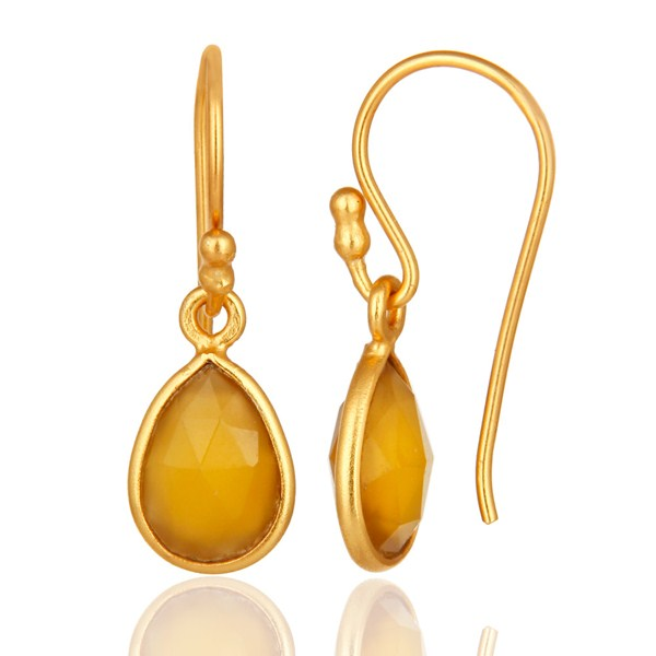 Suppliers Yellow Chalcedony Gemstone Drop Earrings In 18K Gold Over Sterling Silver