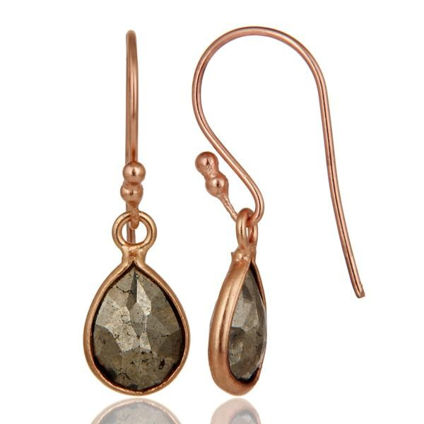 Suppliers 18K Rose Gold Plated Sterling Silver Pyrite Bezel Set Teardrop Earrings