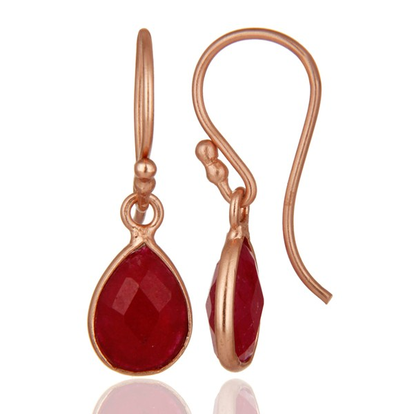 Suppliers 18K Rose Gold Plated Sterling Silver Dyed Ruby Gemstone Bezel Teardrop Earrings