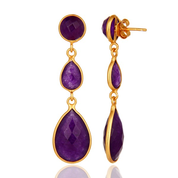 Purple Chalcedony Sterling Silver Bezel Gemstone Earrings - Gold Plated From Jaipur India