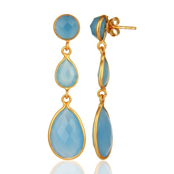 Suppliers Blue Aqua Chalcedony Faceted Gemstone Dangle Earrings In 18K Gold Over Sterling