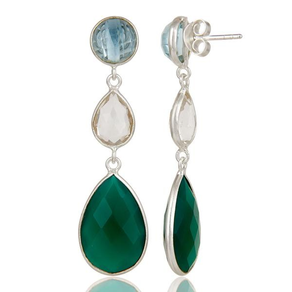 Suppliers Blue Topaz, Crystal Quartz & Green Onyx Solid 925 Sterling Silver Drops Earrings