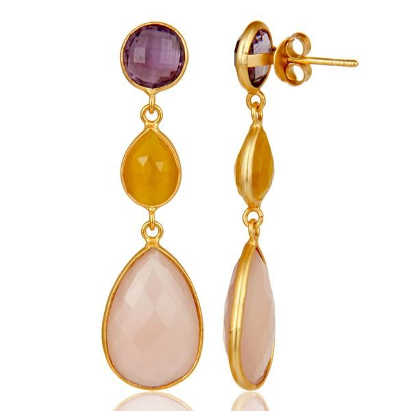 Suppliers Chalcedony, Amethyst & Moonstone 18k Gold Plated Sterling Silver Dangle Earrings