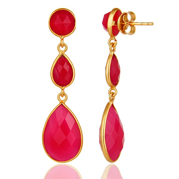 Suppliers Dyed Pink Chalcedony Bezel Set Drop Dangle Earrings in 18K Gold Plated Silver