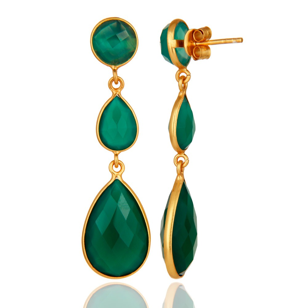 Suppliers 18K Gold Plated Sterling Silver Faceted Green Onyx Gemstone Dangle Earrings