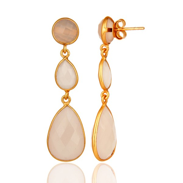 Gold Plated 925 Silver Faceted Dyed Rose Chalcedony Bezel Earrings From Jaipur India