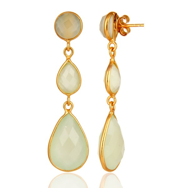Suppliers Faceted Green Chalcedony Gold Plated Sterling Silver Womens Dangle Earrings