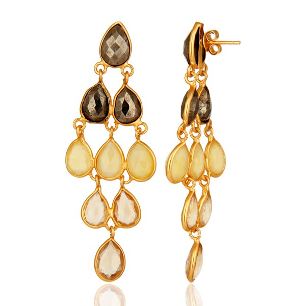 Suppliers 18K Yellow Gold Plated Sterling Silver Citrine And Chalcedony Chandelier Earring