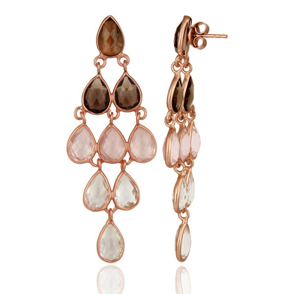 Suppliers 18K Rose Gold Sterling Silver Rose Quartz And Smoky Quartz Chandelier Earrings