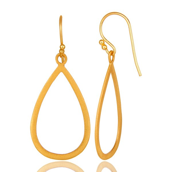 Suppliers 18K Yellow Gold Plated Sterling Silver Cutout Drop Earrings