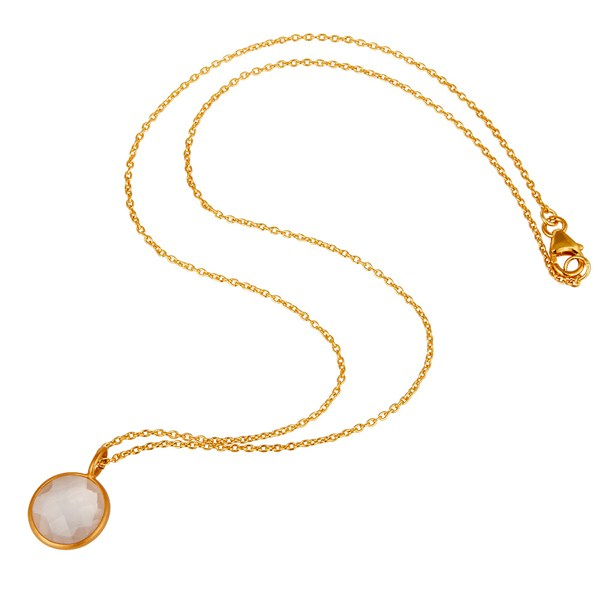 Suppliers Rose Quartz 14K Yellow Gold Plated 925 Sterling Silver Chain Pendant Jewelry